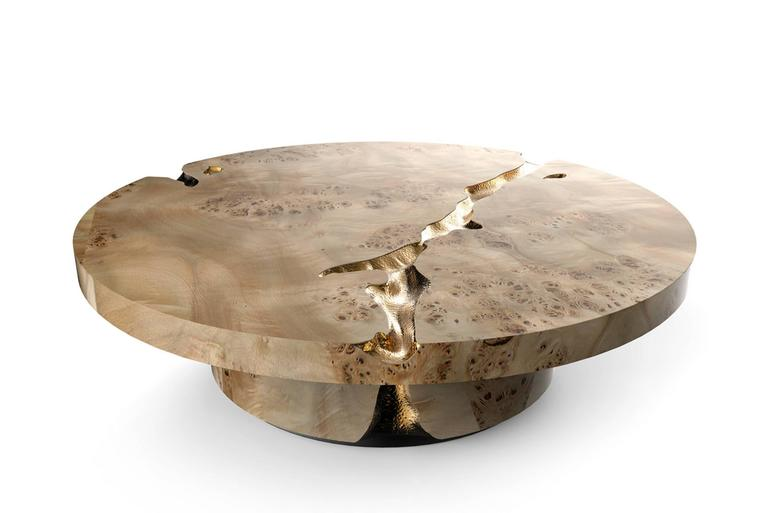 Excellence Coffee Table Mahogany Wood and Polished Brass For Sale 2
