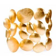 Gold Pebble Screen Gold Leaf Painted