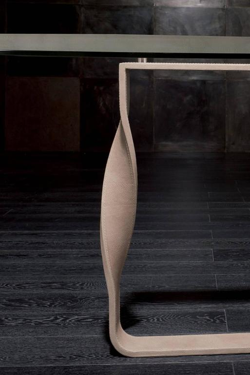 Contemporary Torsade Table Bronze Base Legs and Glass Top For Sale