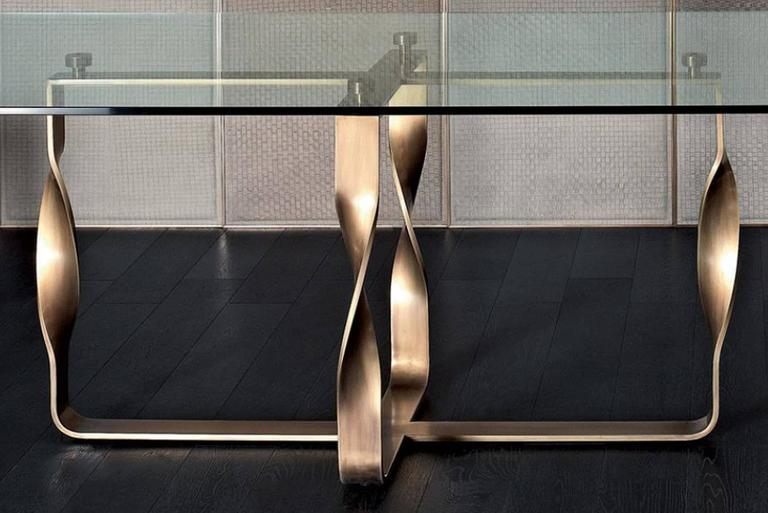 Italian Torsade Table Bronze Base Legs and Glass Top For Sale