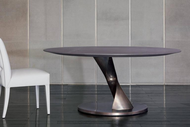 Hand-Crafted Eva Round Table Bronze and Solid Ebony Top For Sale