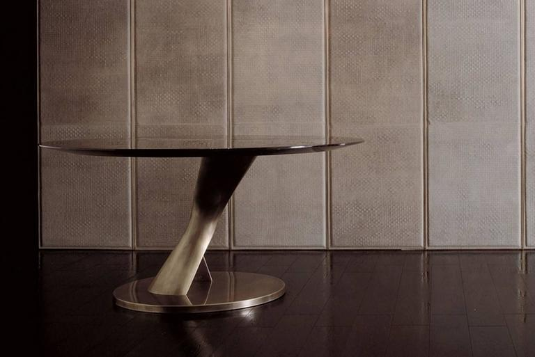 Italian Eva Round Table Bronze and Solid Ebony Top For Sale