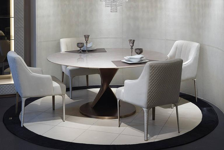 Contemporary Eva Round Table Bronze and Solid Ebony Top For Sale