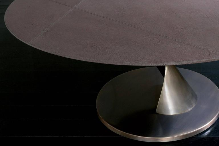 Eva Round Table Bronze and Solid Ebony Top For Sale 1