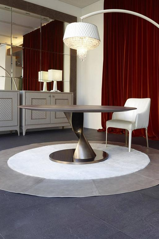 Eva Round Table Bronze and Solid Ebony Top For Sale 2