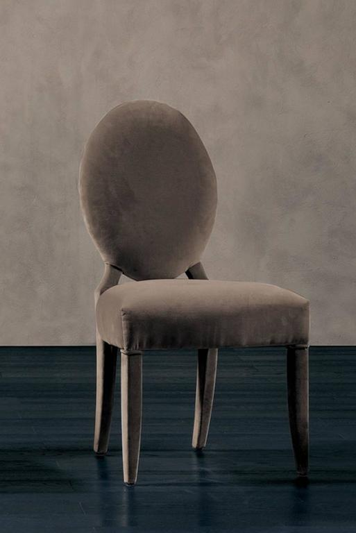 Hand-Crafted Lisa Chair in Fabric with Wood Structure For Sale