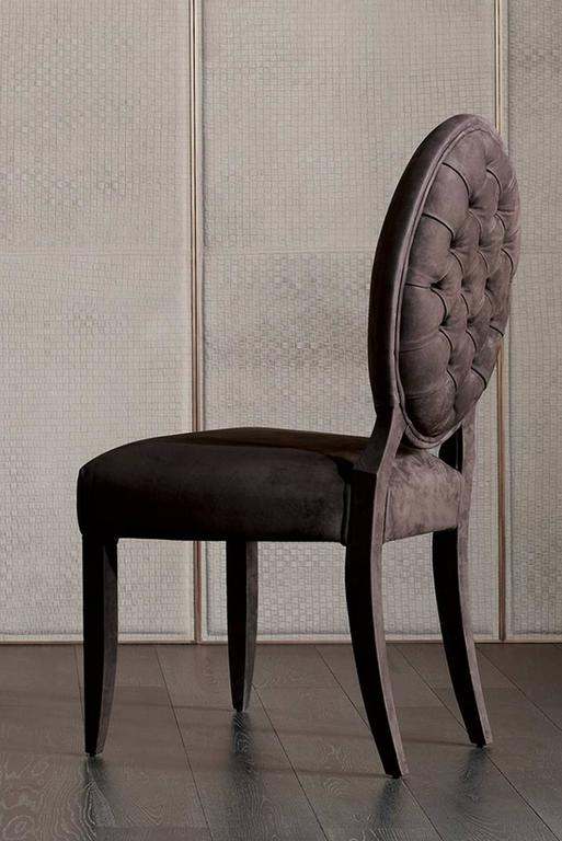 Italian Lisa Chair in Fabric with Wood Structure For Sale