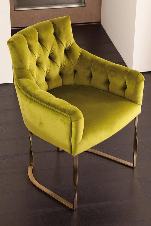Italian Katawa Chair Leather and Bronze Structure For Sale