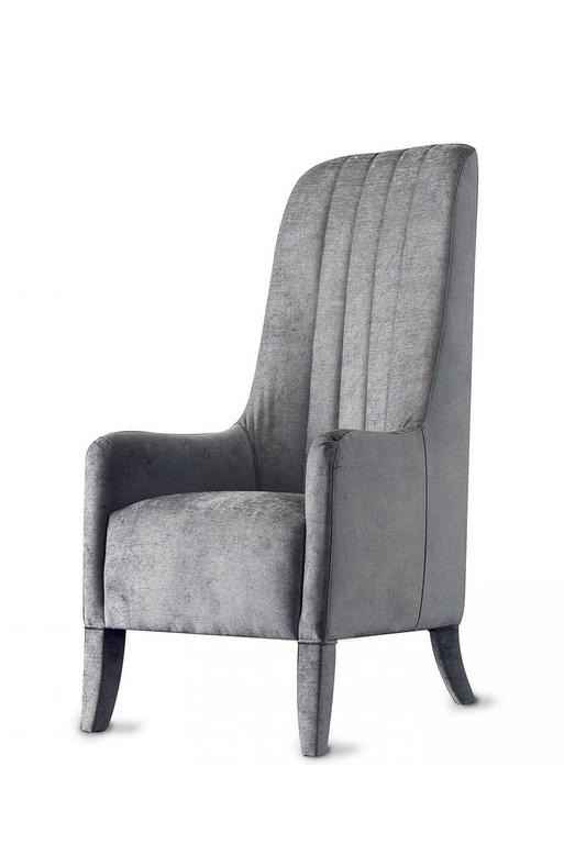 Leather Ramses Armchair in Fabric with Wood Structure For Sale