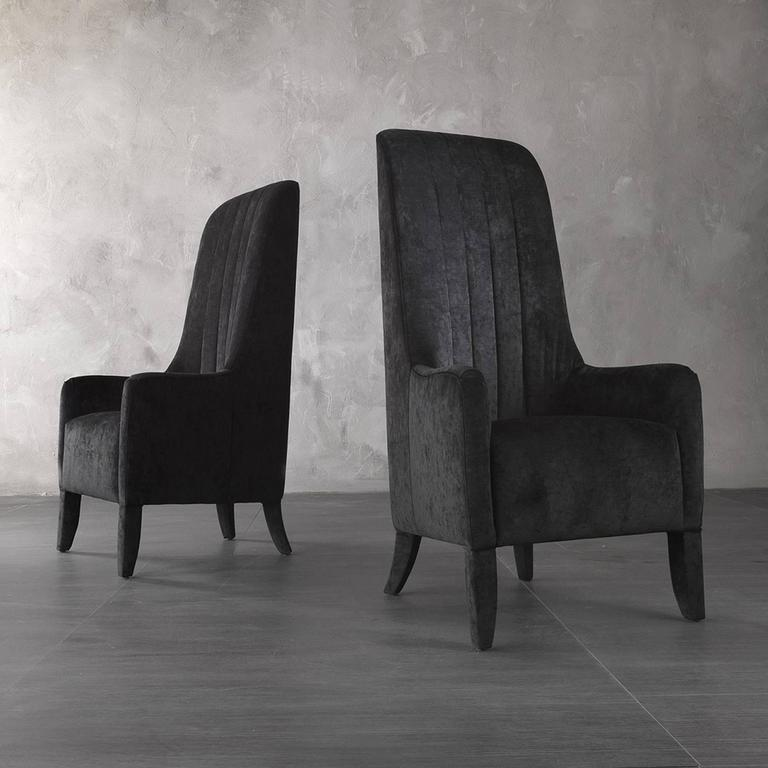 Italian Ramses Armchair in Fabric with Wood Structure For Sale