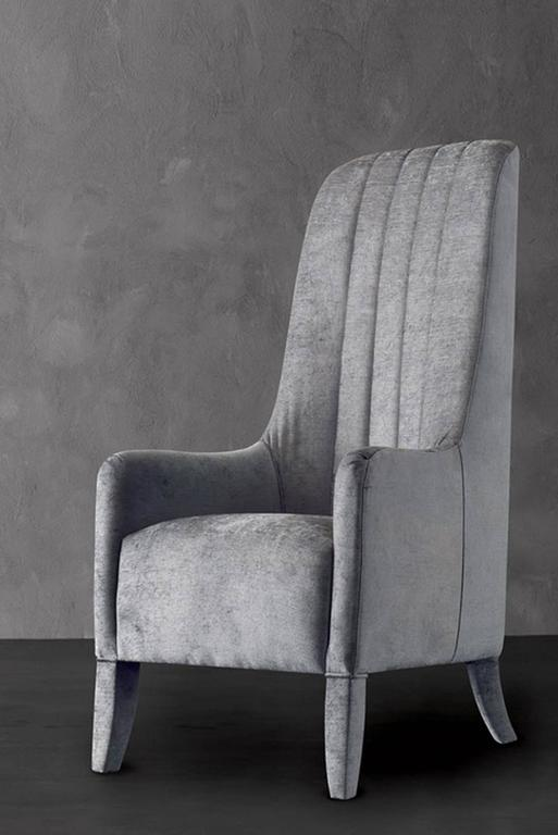 Contemporary Ramses Armchair in Fabric with Wood Structure For Sale
