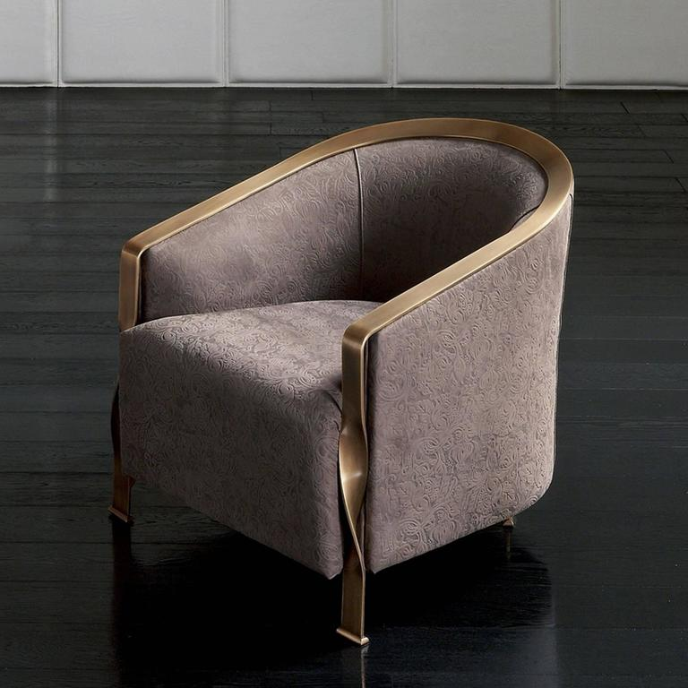 Hand-Crafted Torsade Armchair in Fabric with Bronze Structure For Sale