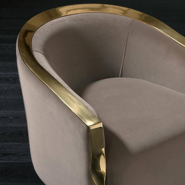 Torsade Armchair in Fabric with Bronze Structure In Excellent Condition For Sale In Paris, FR