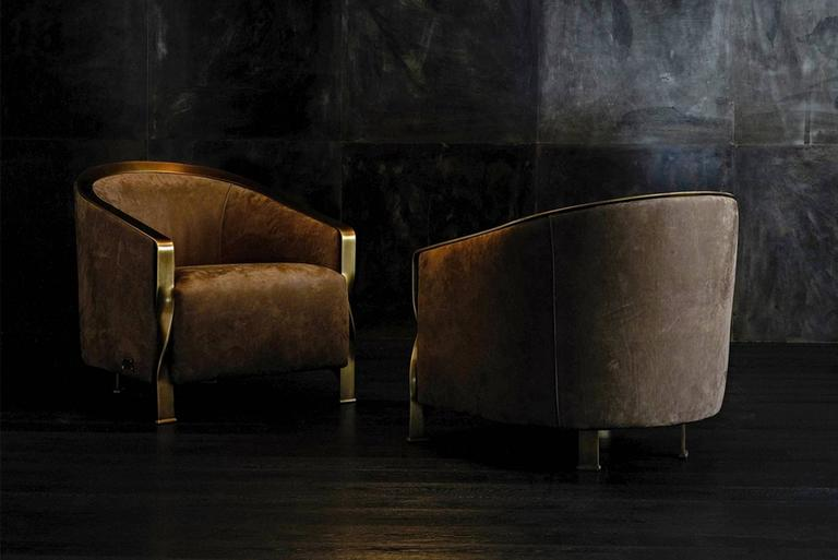 Italian Torsade Armchair in Fabric with Bronze Structure For Sale