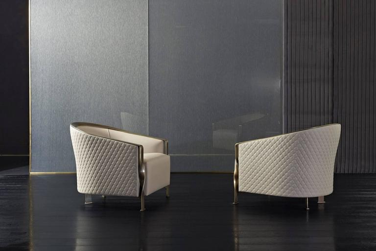 Contemporary Torsade Armchair in Fabric with Bronze Structure For Sale