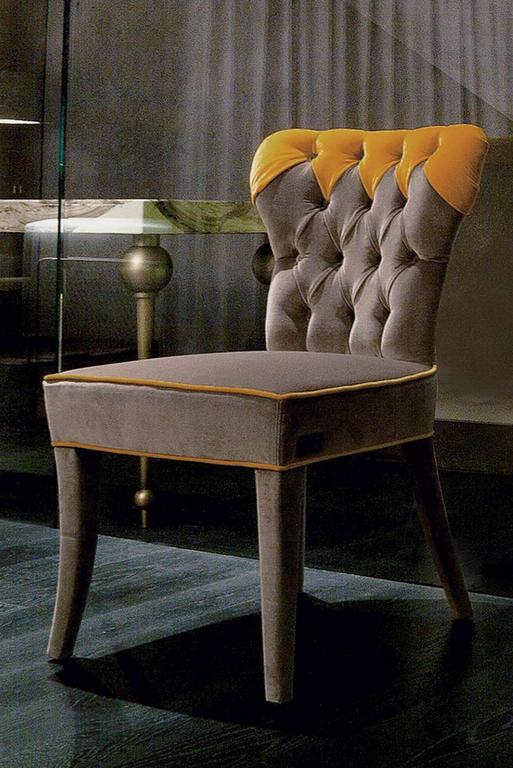 Contemporary Catalina Chair in Fabric and Wood Structure For Sale