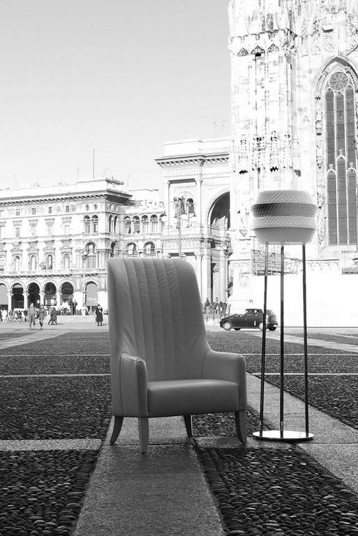 Italian Imperial Armchair in Leather and Wood Structure For Sale