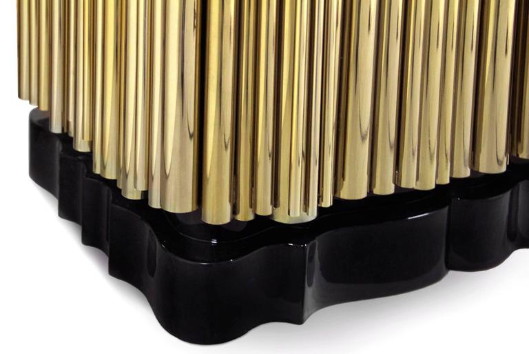 Brass Tubes Cabinet with Polished Brass Tubes Gold-Plated In Excellent Condition For Sale In Paris, FR