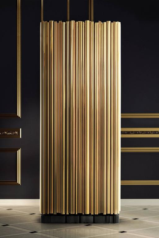 Contemporary Brass Tubes Cabinet with Polished Brass Tubes Gold-Plated For Sale