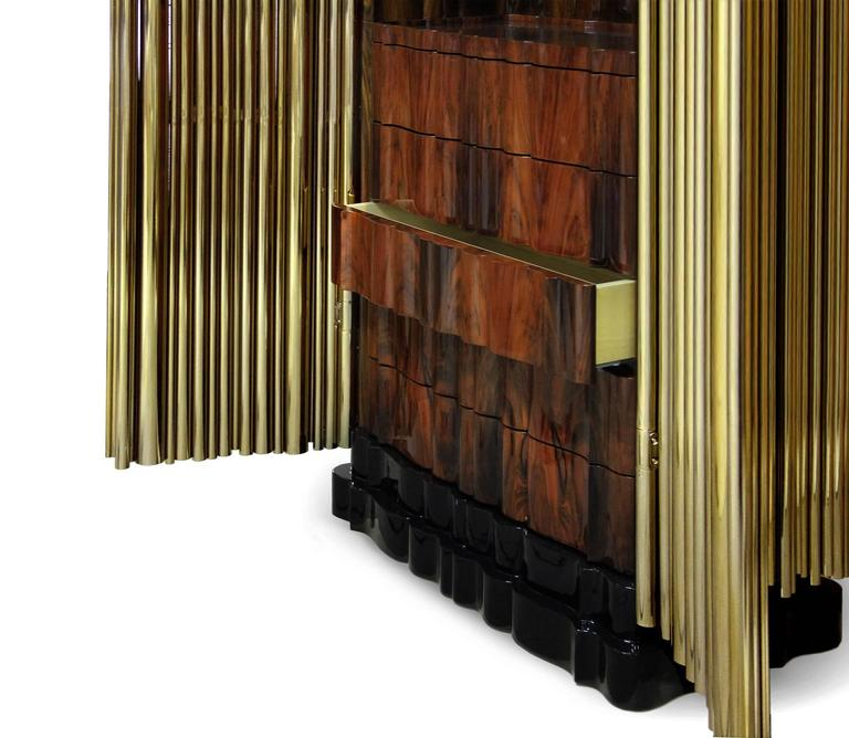Portuguese Brass Tubes Cabinet with Polished Brass Tubes Gold-Plated For Sale