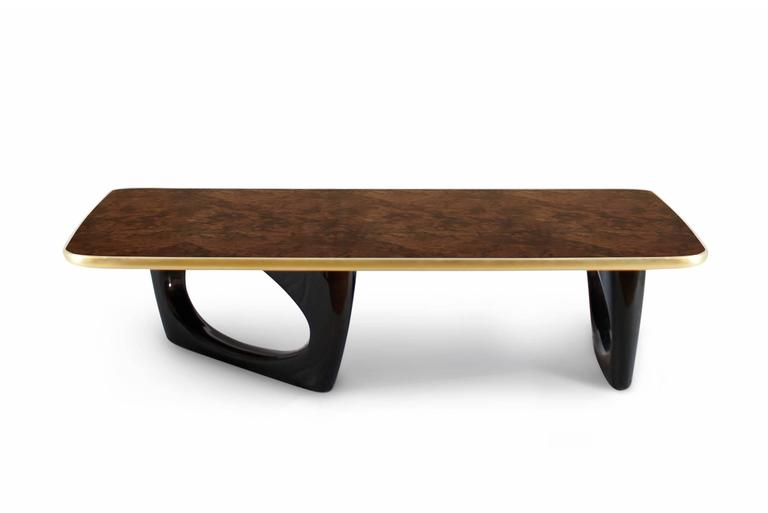 Gold Walnut Root Coffee Table with Walnut Top 3