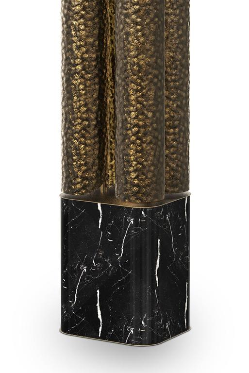 Contemporary Tuba Floor Lamp in Hammered Aged Brass For Sale