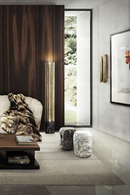 Tuba Floor Lamp in Hammered Aged Brass For Sale 1