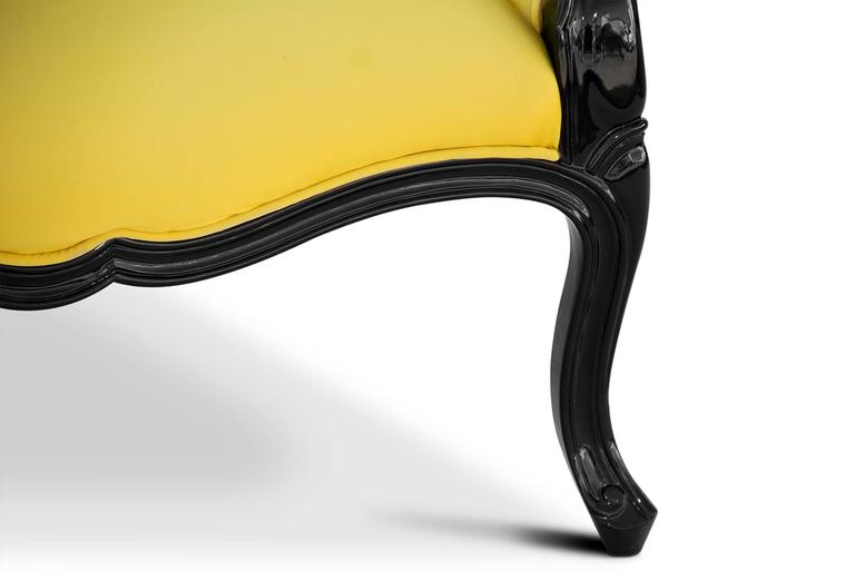 Hand-Crafted Tresor Armchair in Satinated Cotton and Black Lacquered Structure For Sale