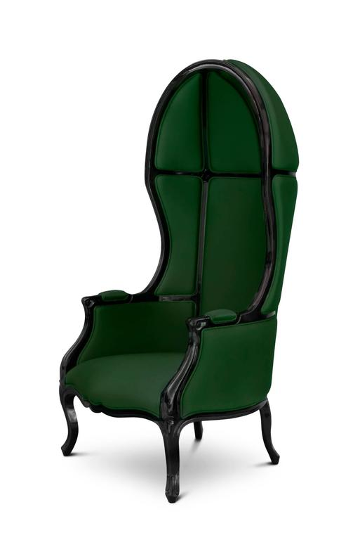 Tresor Armchair in Satinated Cotton and Black Lacquered Structure For Sale 3