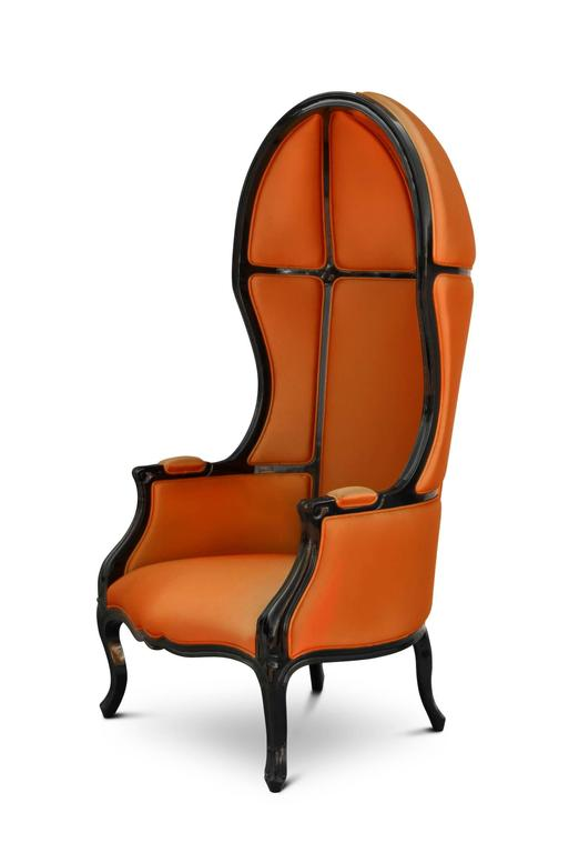 Tresor Armchair in Satinated Cotton and Black Lacquered Structure For Sale 1