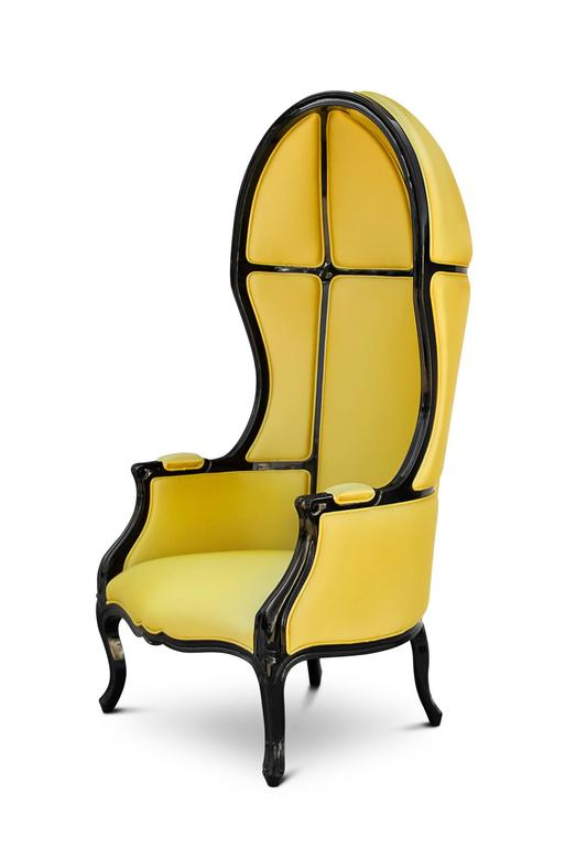 Armchair tresor with high gloss black lacquered  structure and fabric in satinated cotton. Available in yellow, blue, red, orange, fushia, green.