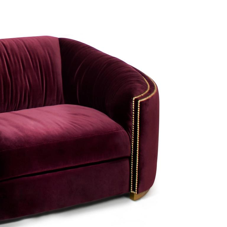 Hand-Crafted Kingdom One-Seat Sofa in Cotton Velvet and Vintage Brass Base For Sale