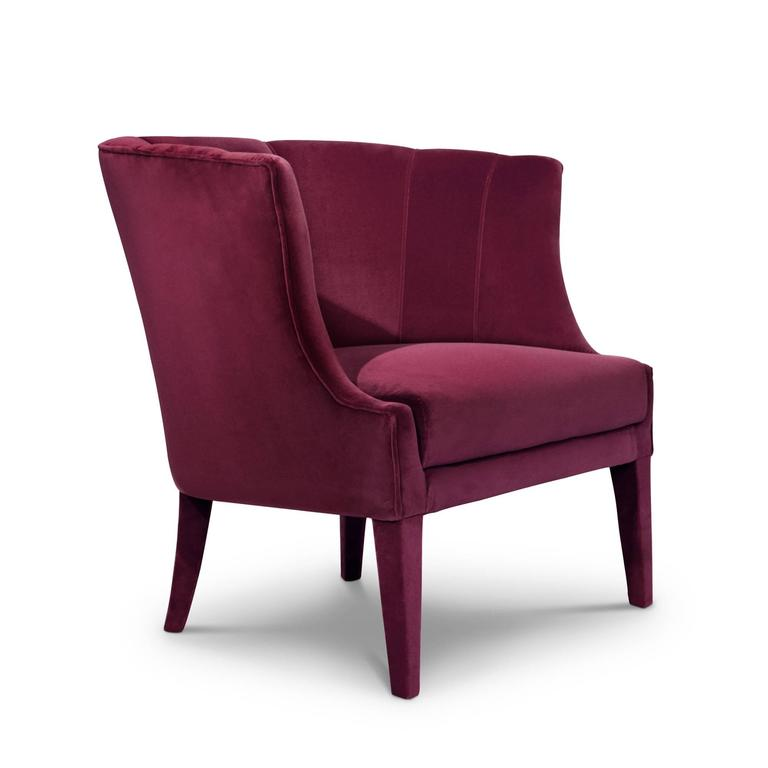 Portuguese Camilla Armchair in Cotton Velvet and Fully Upholstered For Sale