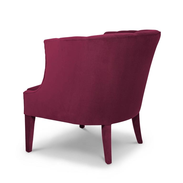 Hand-Crafted Camilla Armchair in Cotton Velvet and Fully Upholstered For Sale