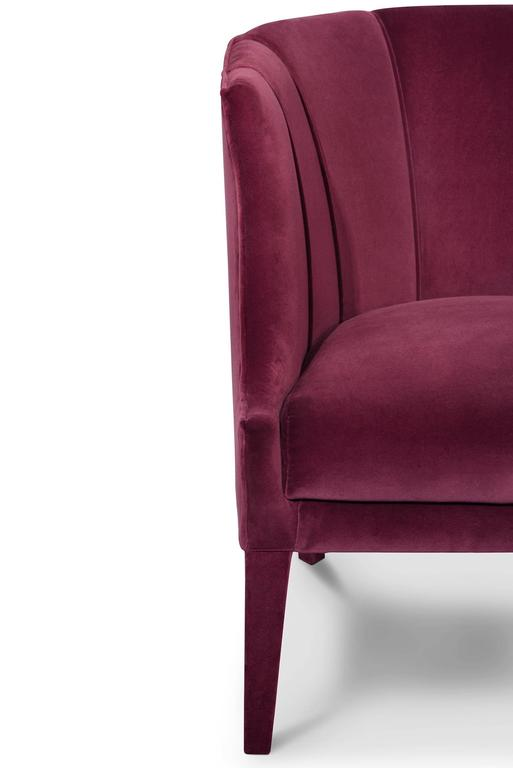 Contemporary Camilla Armchair in Cotton Velvet and Fully Upholstered For Sale