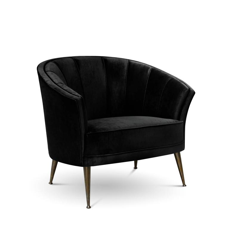 Arca Armchair in Cotton Velvet with Brass Feet In Excellent Condition For Sale In Paris, FR