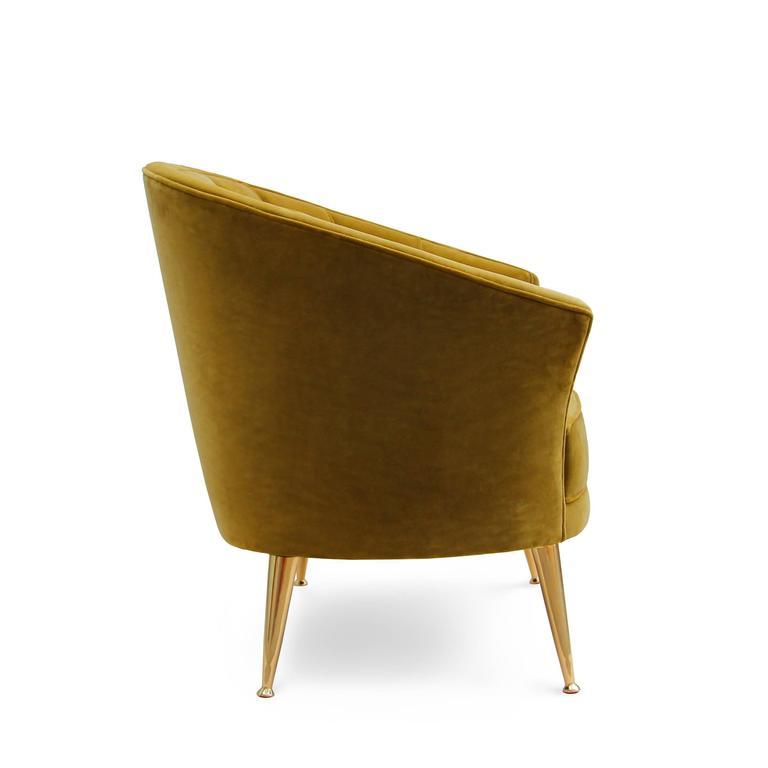 Arca Armchair in Cotton Velvet with Brass Feet 3