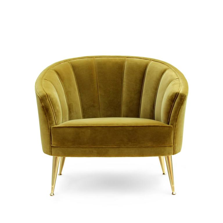 Armchair Arca with cotton velvet fabric