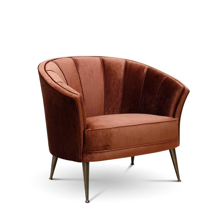 Hand-Crafted Arca Armchair in Cotton Velvet with Brass Feet For Sale