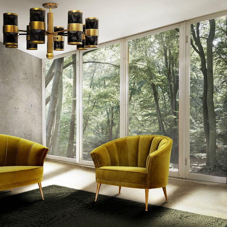 Arca Armchair in Cotton Velvet with Brass Feet 6