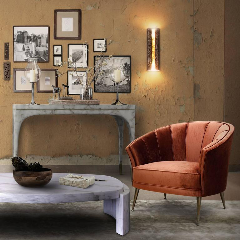 Arca Armchair in Cotton Velvet with Brass Feet 8