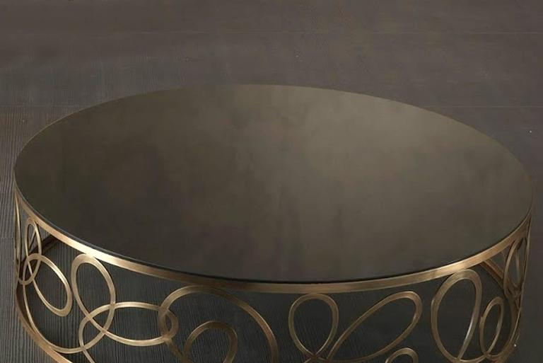 Italian Curving Round Coffee Table with Bronze Base and Marble Top For Sale