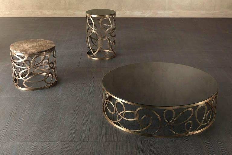Contemporary Curving Round Coffee Table with Bronze Base and Marble Top For Sale