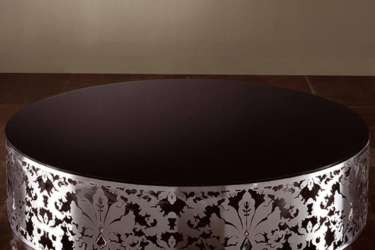 Italian Flora Round Coffee Table with Stainless Steel Base and Black or White Glass Top For Sale
