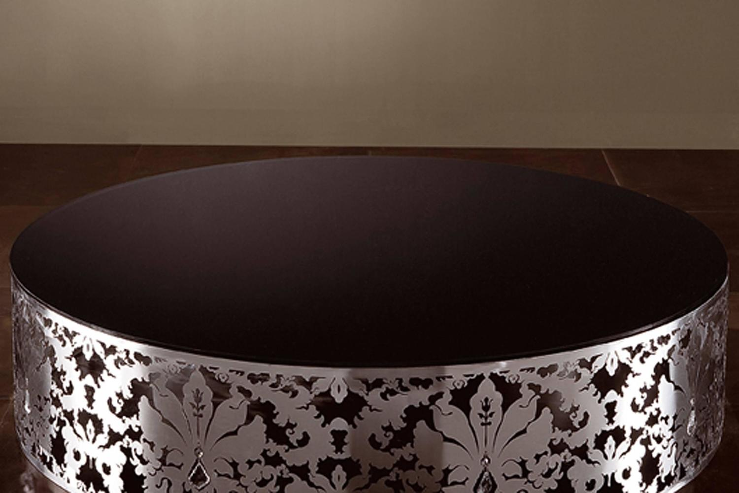 Flora Round Coffee Table With Stainless Steel Base And Black Or White Glass Top For Sale At 1stdibs