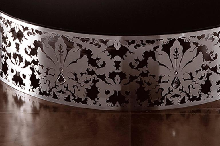 Hand-Crafted Flora Round Coffee Table with Stainless Steel Base and Black or White Glass Top For Sale