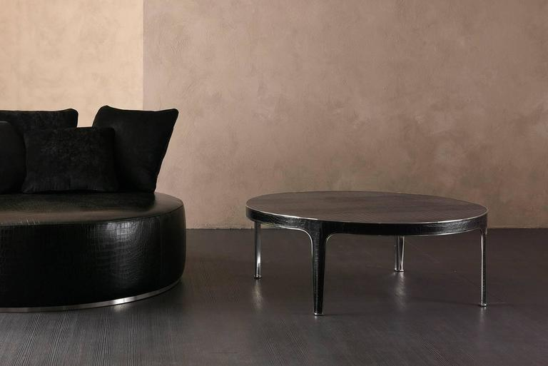 Italian Shadow Round Coffee Table Steel and Leather Base with Marbel Top For Sale