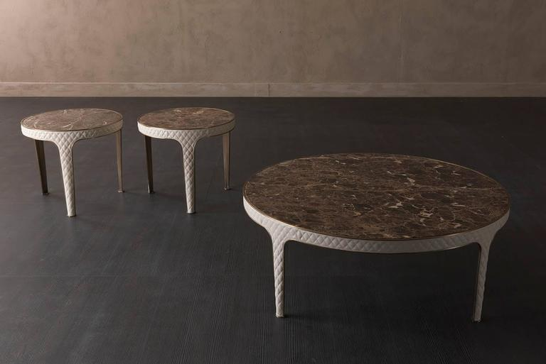 Contemporary Shadow Round Coffee Table Steel and Leather Base with Marbel Top For Sale