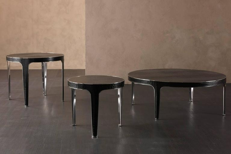 Shadow Round Coffee Table Steel and Leather Base with Marbel Top In Excellent Condition For Sale In Paris, FR