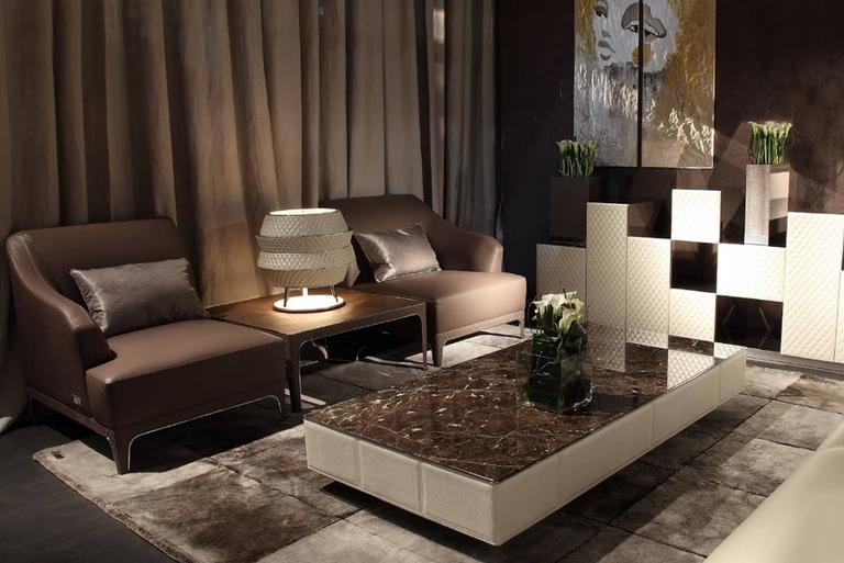 Hand-Crafted Walter A Coffee Table Marble-Top and Quilted Leather Structure For Sale
